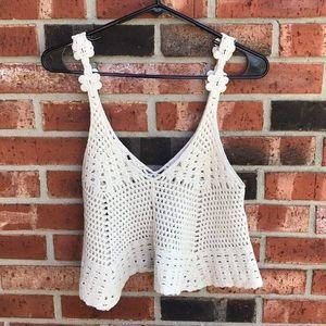 Tops - Cream Crochet Homemade Festival Crop Top